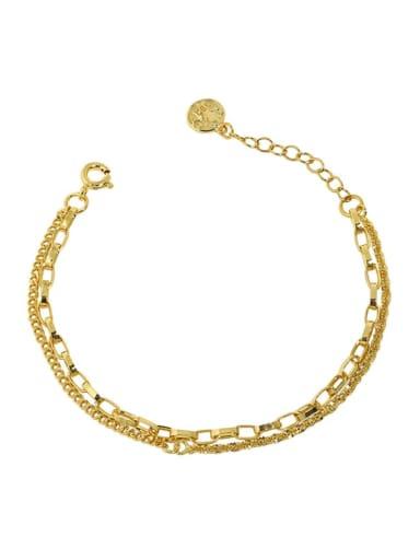 18K gold 925 Sterling Silver Irregular Minimalist Strand Bracelet