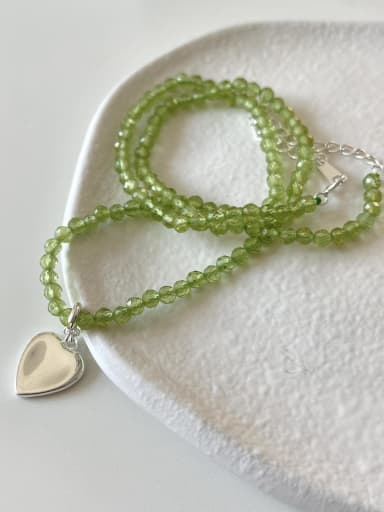 925 Sterling Silver Heart Vintage Beaded Necklace