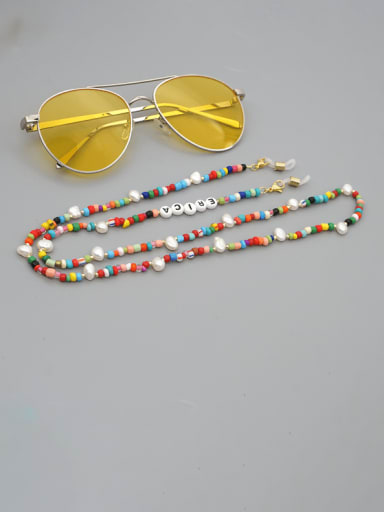 ZZ N200053A Stainless steel Bead Multi Color Acrylic Letter Bohemia Necklace