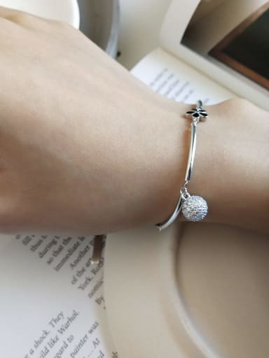 925 Sterling Silver Cubic Zirconia White Ball Dainty Charm Bracelet