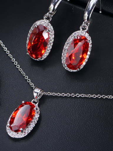 Red uS 6 Brass Cubic Zirconia  Luxury Oval Earring Ring and Necklace Set