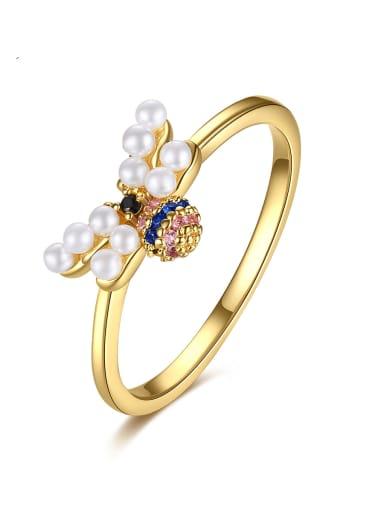 Brass Imitation Pearl Irregular Minimalist Band Ring