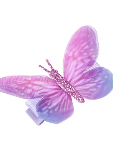 1 Alloy Fabric Cute Butterfly  Multi Color Hair Barrette