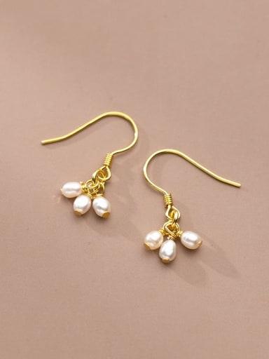 925 Sterling Silver Freshwater Pearl Water Drop Minimalist Hook Earring