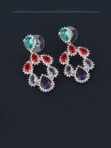 platinum Brass Cubic Zirconia Multi Color Water Drop Luxury Chandelier Earring