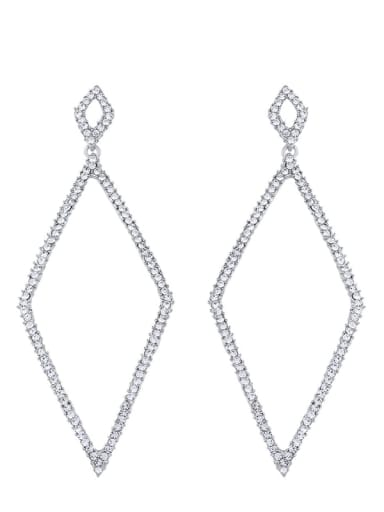 platinum Alloy Cubic Zirconia Geometric Vintage Drop Earring