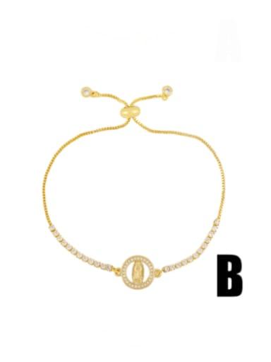 B Brass Cubic Zirconia Heart Vintage Adjustable Bracelet