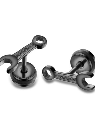 490 black Titanium Irregular Minimalist Stud Earring
