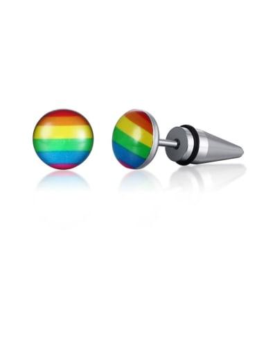 Titanium Steel Multi Color Enamel Round Minimalist Stud Earring