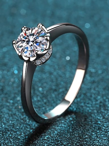 Sterling Silver White  Moissanite Engagement Rings