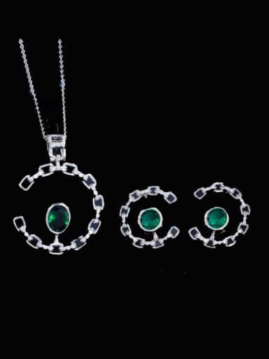 green Brass Cubic Zirconia Luxury Oval Earring and Necklace Set