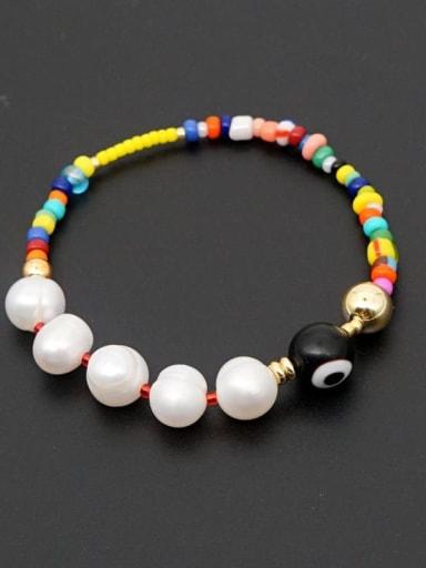 ZZ B200034B Freshwater Pearl Multi Color Miyuki beads Evil Eye Bohemia Stretch Bracelet