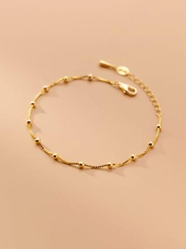 gold 925 Sterling Silver Bead Round Minimalist Bracelet