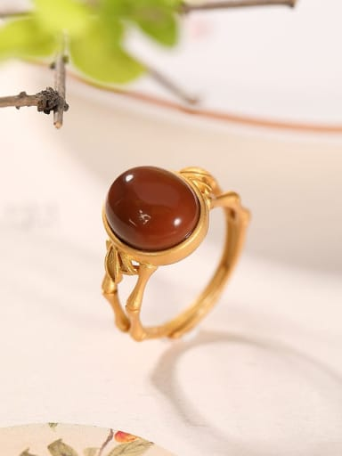 925 Sterling Silver Carnelian Oval Vintage Band Ring
