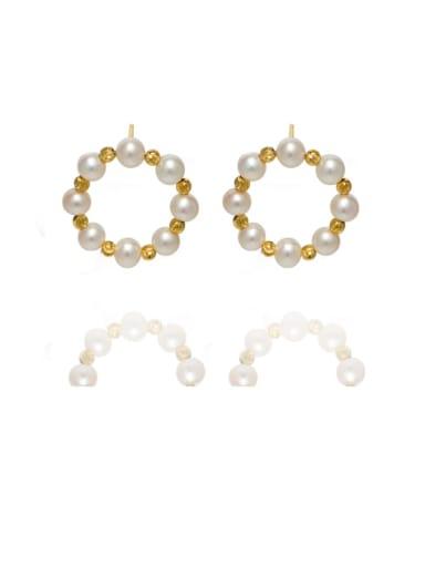 Brass Freshwater Pearl Geometric Vintage Stud Earring