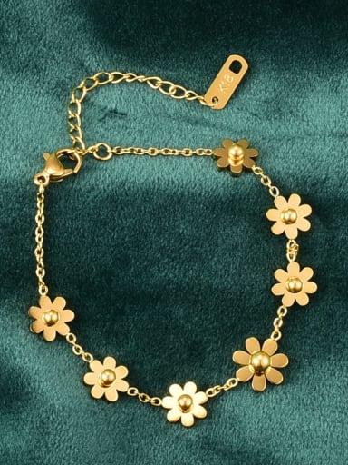 Titanium Steel Flower Vintage Link Bracelet