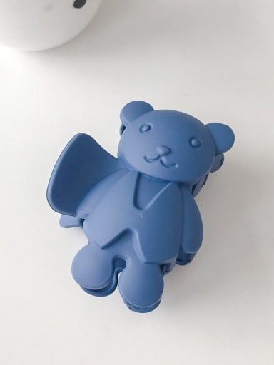 Royal Blue 8.5cm Alloy Acrylic Cute Bear  Jaw Hair Claw
