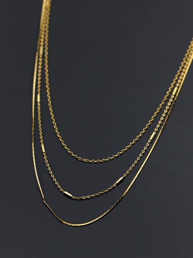 925 Sterling Silver Geometric Minimalist Multi Strand Necklace
