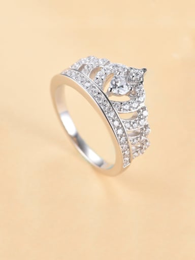925 Sterling Silver Cubic Zirconia Crown Minimalist Band Ring