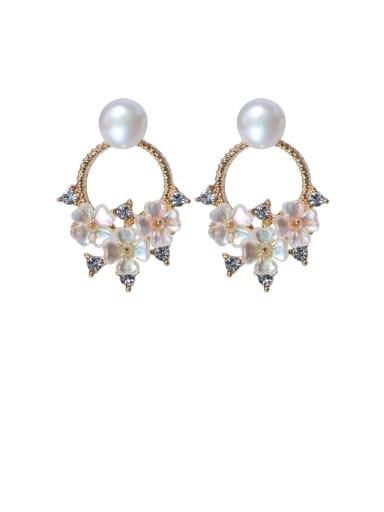 Brass Freshwater Pearl Flower Ethnic Drop Earring