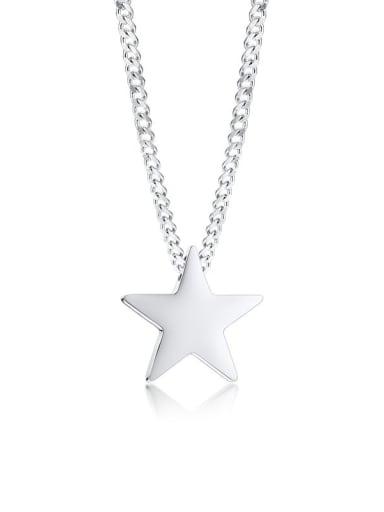 PENTAGRAM  (including chain) 50 5cm Titanium Steel Geometric  Minimalist Regligious Necklace