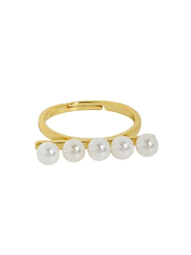 18K gold [No. 15 adjustable] 925 Sterling Silver Imitation Pearl Geometric Minimalist Band Ring