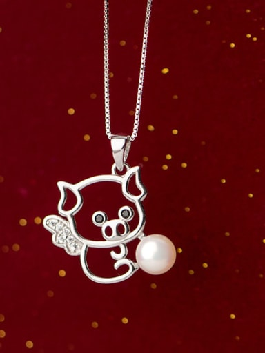 925 Sterling Silver Imitation Pearl Pig Minimalist Necklace
