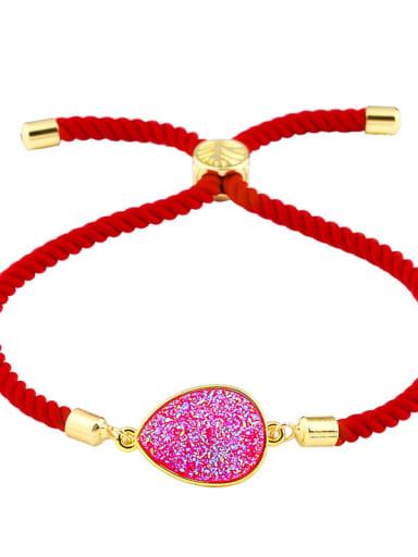 Red rope rose Leather Geometric Minimalist Adjustable Bracelet