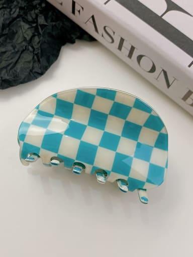 Blue white check 8.7cm PVC Minimalist Irregular Alloy Multi Color Jaw Hair Claw