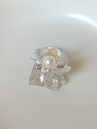 925 Sterling Silver Imitation Pearl Irregular Vintage  Flower Band Ring