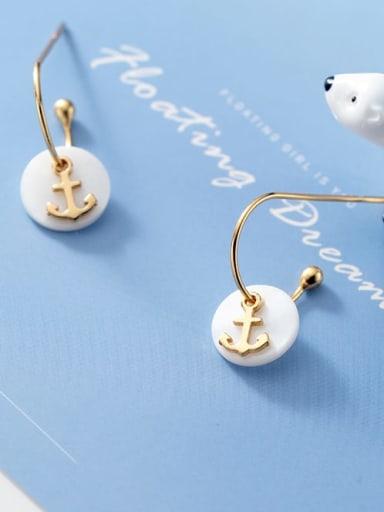 925 Sterling Silver Shell Round Minimalist Hook Earring