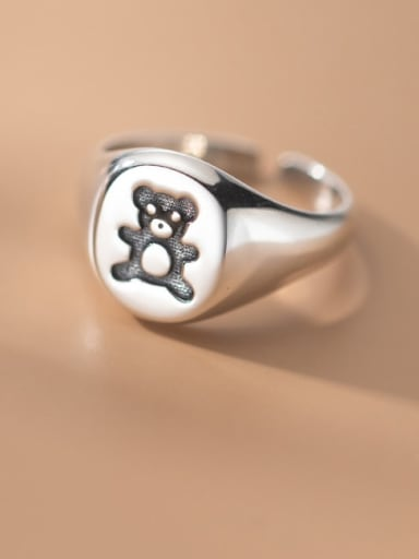 925 Sterling Silver Bear Cute Band Ring