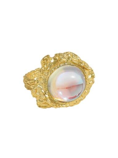 18K gold [No. 12 Adjustable] 925 Sterling Silver Zircon Irregular  Moon stone Vintage Band Ring