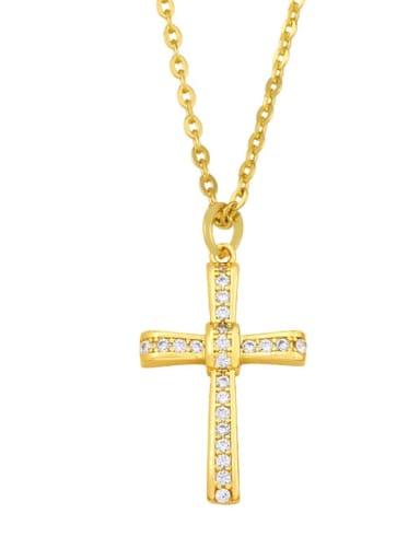 D Brass Cubic Zirconia Cross Ethnic Regligious Necklace