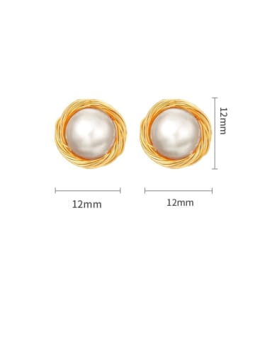 3A gold 9 -10mm Brass Imitation Pearl Geometric Minimalist Stud Earring