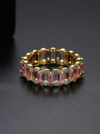 Gold t17a26 Copper Cubic Zirconia Geometric Dainty Band Ring