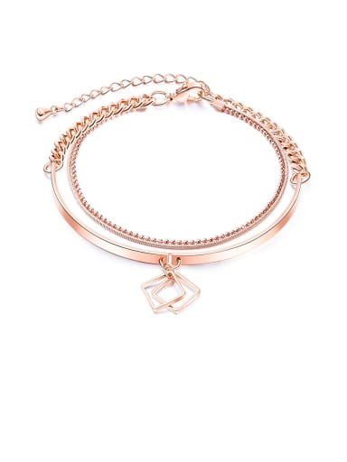 998-Bracelet Copper Rhinestone White Key Minimalist Bangles