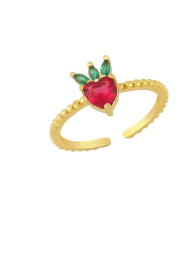 strawberry Brass Cubic Zirconia Friut Minimalist Band Ring