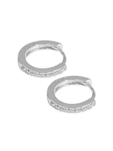 Platinum 925 Sterling Silver Cubic Zirconia Round Minimalist Huggie Earring