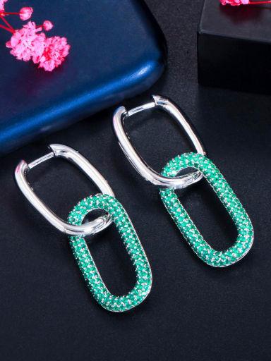 Platinum green Brass Cubic Zirconia Geometric Luxury Cluster Earring
