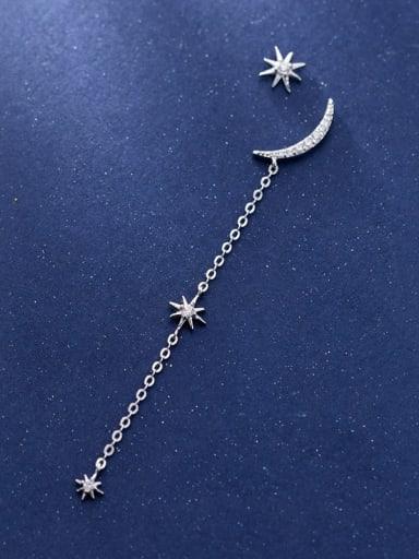 925 Sterling Silver Asymmetry Tassel Trend Stud Earring