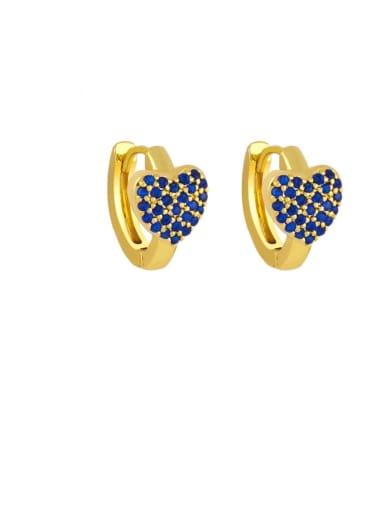 blue Brass Cubic Zirconia Heart Bohemia Stud Earring