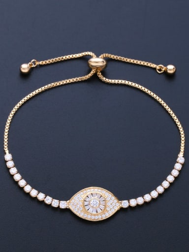 golden Brass Cubic Zirconia Evil Eye Minimalist Adjustable Bracelet
