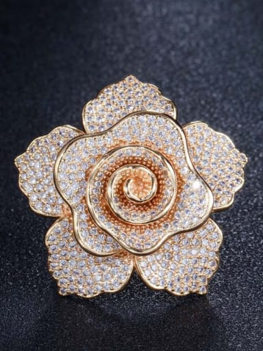 Gold US 7 Brass Cubic Zirconia Flower Luxury Statement Ring