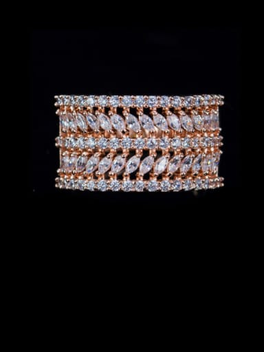 Rose Gold US 6 Brass Cubic Zirconia Geometric Luxury Statement Ring