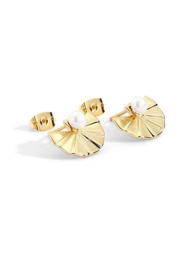 Bronze Imitation Pearl Geometric Vintage Stud Earring