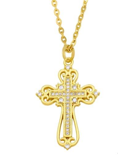 A Brass Cubic Zirconia Cross Ethnic Regligious Necklace