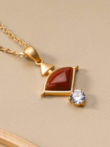 South Red 925 Sterling Silver Carnelian Vintage Triangle  Pendant