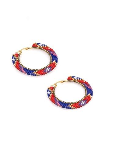 Multi Color  Miyuki beadsGeometric Bohemia  Pure Handmade Huggie Earring