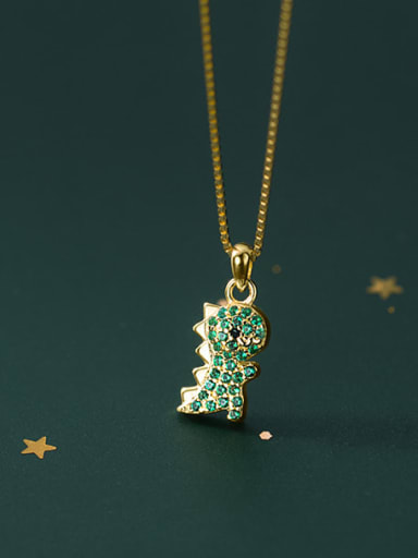925 Sterling Silver Cubic Zirconia Dragon Ethnic Necklace